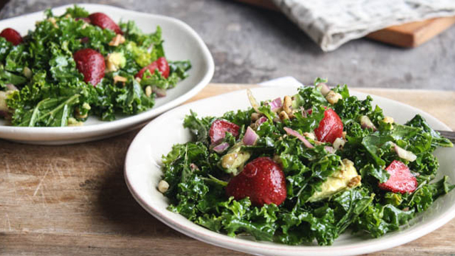 Strawberry Kale Salad + Maple-Balsamic Dressing