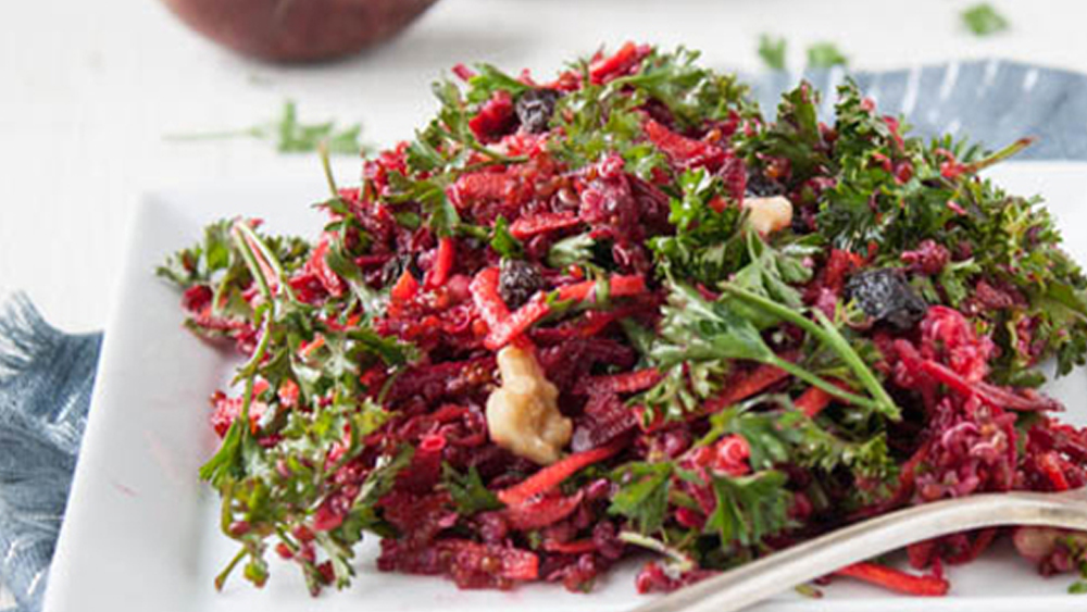 Carrot + Beet Slaw with Quinoa and Chickpeas