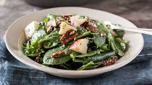 Spinach Apple + Pecan Salad