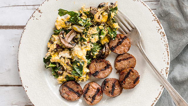 Kale, Mushroom + Egg Scramble with Chicken Sausage