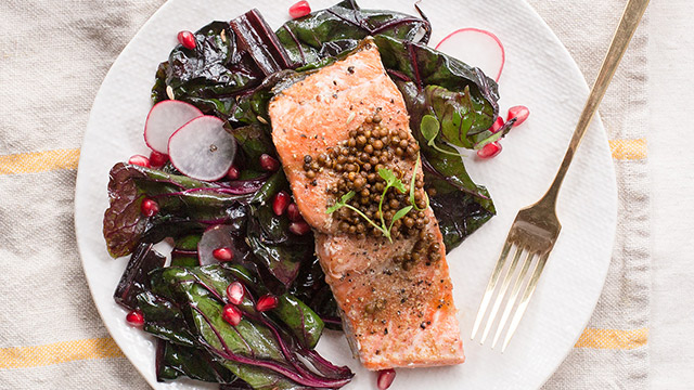 Salmon with Pickled Coriander + Pomegranate