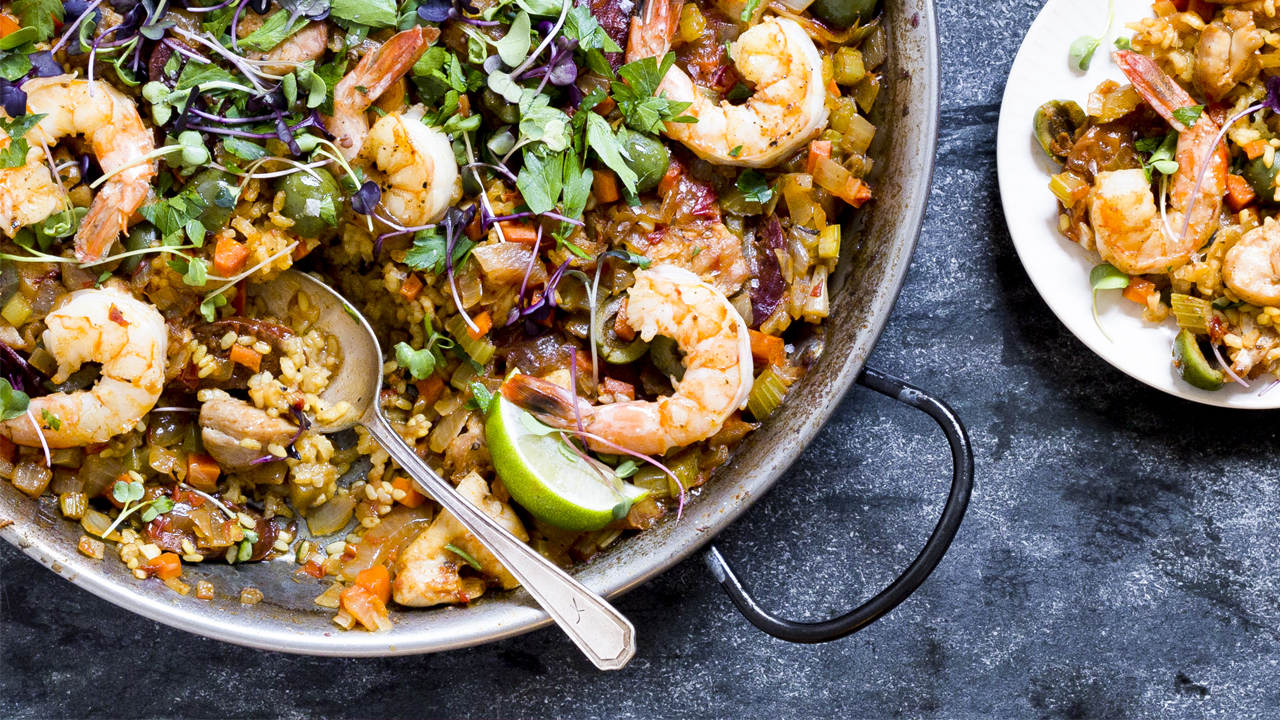 Chicken, Chorizo + Shrimp Paella
