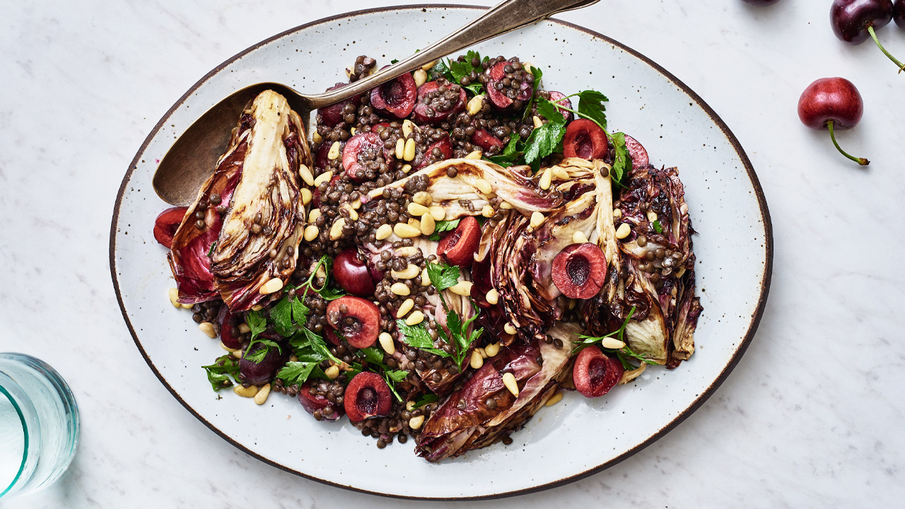 Grilled Radicchio + Cherries with Lentils